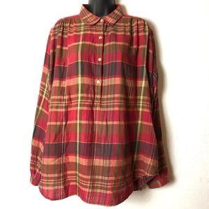 CHAPS plaid red oversized tunic shirt blouse Sz L
